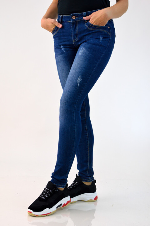 Γυναικείο τζιν με διακριτικά σκισίματα - Μπλε Τζιν