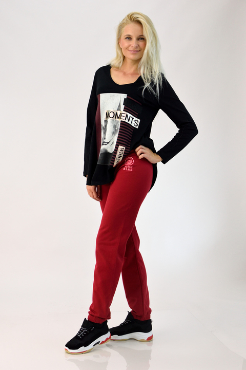 Φούτερ παντελόνι με λογότυπο - Κόκκινο