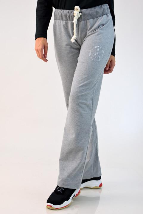 Παντελόνι φούτερ με στρας - Γκρι