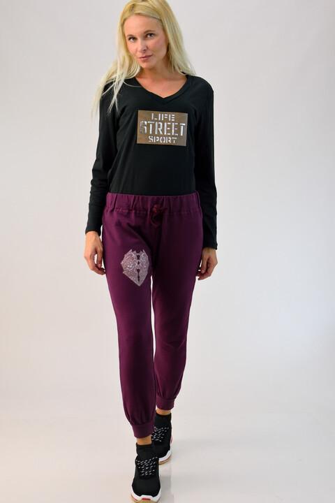 Παντελόνι φούτερ με τύπωμα καρδιά - Μωβ
