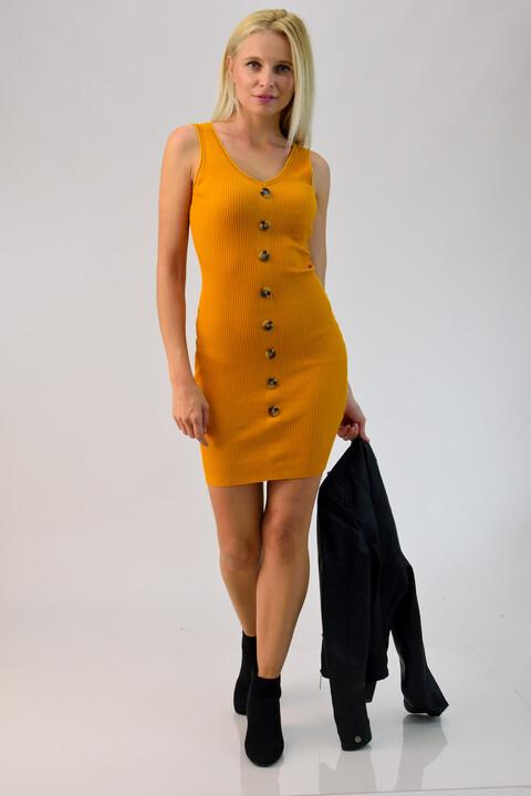 Φόρεμα ριπ με κουμπάκια - Μουσταρδί