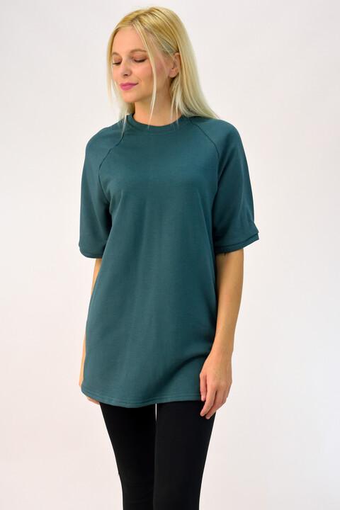 Μπλούζα βαμβακερή μονόχρωμη - Πετρόλ