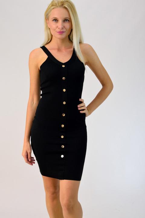 Φόρεμα ριπ με κουμπιά - Μαύρο