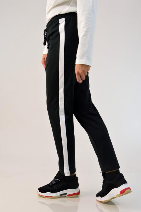 Παντελόνι φούτερ με ρίγα - Μαύρο