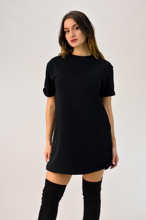 Κοντομάνικο φόρεμα φούτερ με τσέπες - Μαύρο