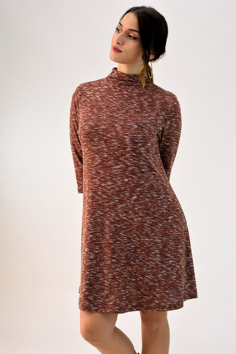 648020bc6c8f Mini φόρεμα ζιβάγκο - Καφέ ...