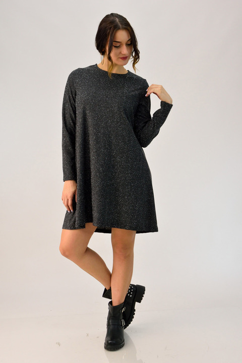 Φόρεμα κλος με εβαζέ μανίκι - Μαύρο