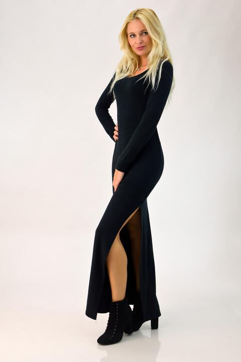 Φόρεμα με άνοιγμα στο πλάι - Μαύρο