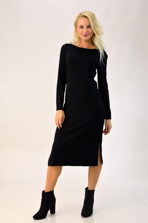 Midi φόρεμα με σκισίματα στο πλάι - Μαύρο