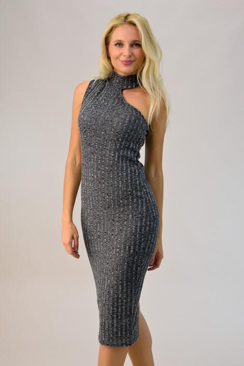 Φόρεμα με γιακά ζιβάγκο  - Γκρι