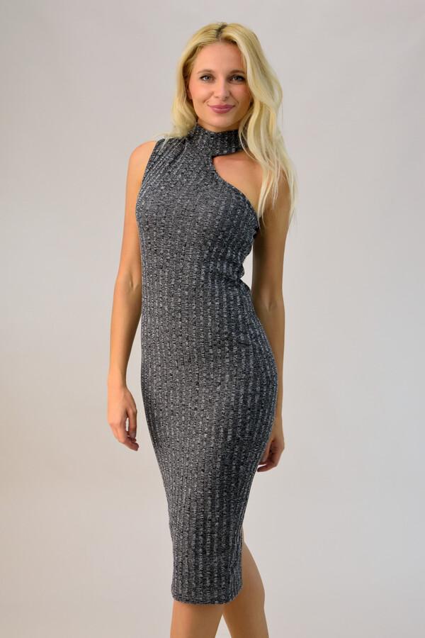 ed137ff7eab0 Φόρεμα με γιακά ζιβάγκο - Γκρι ...