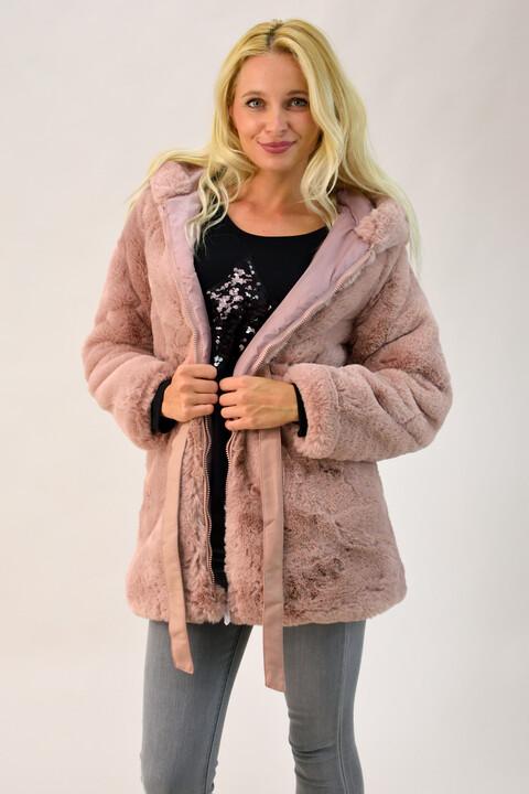 Παλτό από συνθετική γούνα με κουκούλα - Απαλό Ροζ
