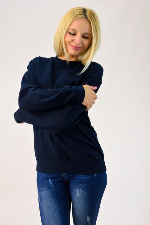 Basic φούτερ μονόχρωμο - Μπλε Σκούρο