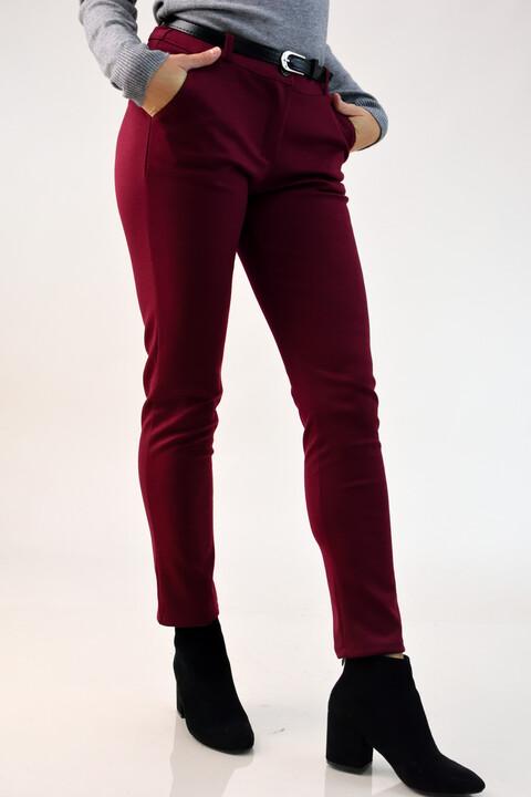Παντελόνι υφασμάτινο ελαστικό με ζώνη - Μπορντώ