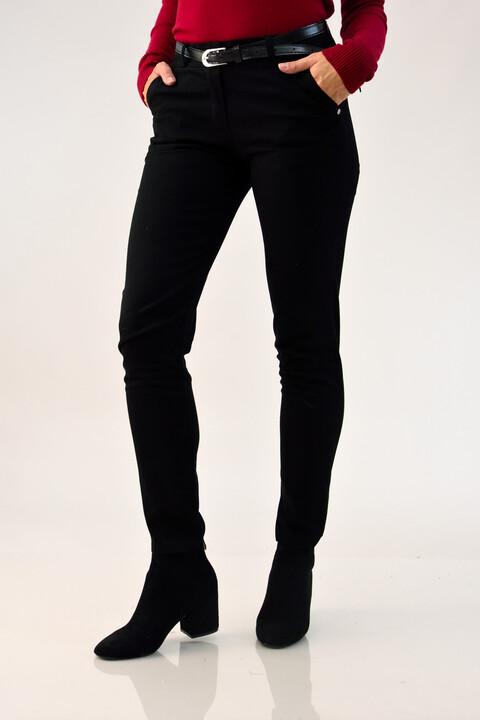 Παντελόνι υφασμάτινο με ζώνη - Μαύρο