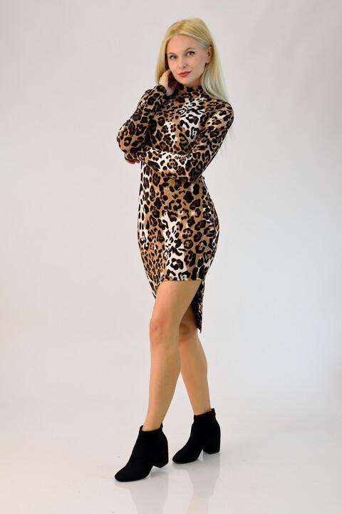 Φόρεμα animal print με σκίσιμο - Animal Print