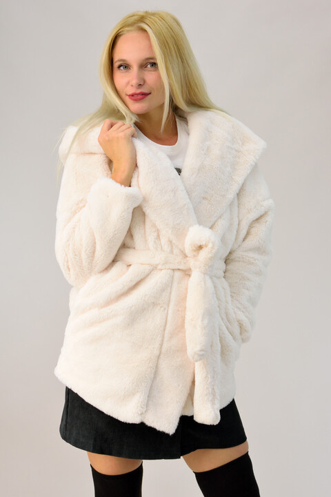 Γυναικείο παλτό γούνα με ζώνη - Εκρού