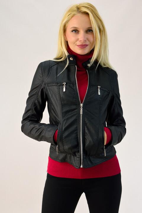 Jacket δερματίνης με γιακά μάο - Μαύρο