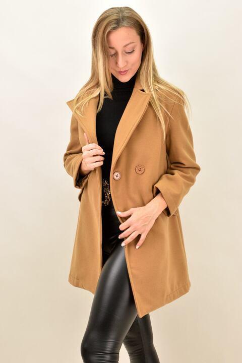 Παλτό μακρύ με γιακά - Κάμελ