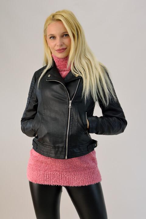 Μπουφάν δερματίνης biker - Μαύρο