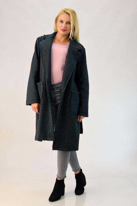 Παλτό από συνθετικό μαλλί προβάτου - Ανθρακί