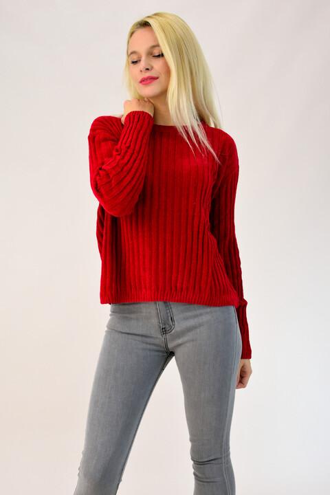 Πλεκτή μπλούζα σενίλ - Κόκκινο