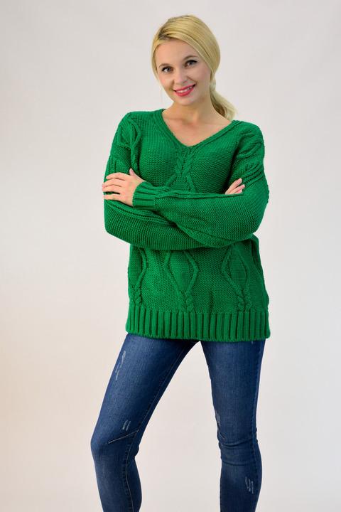 Πλεκτό πουλόβερ με V λαιμόκοψη - Πράσινο