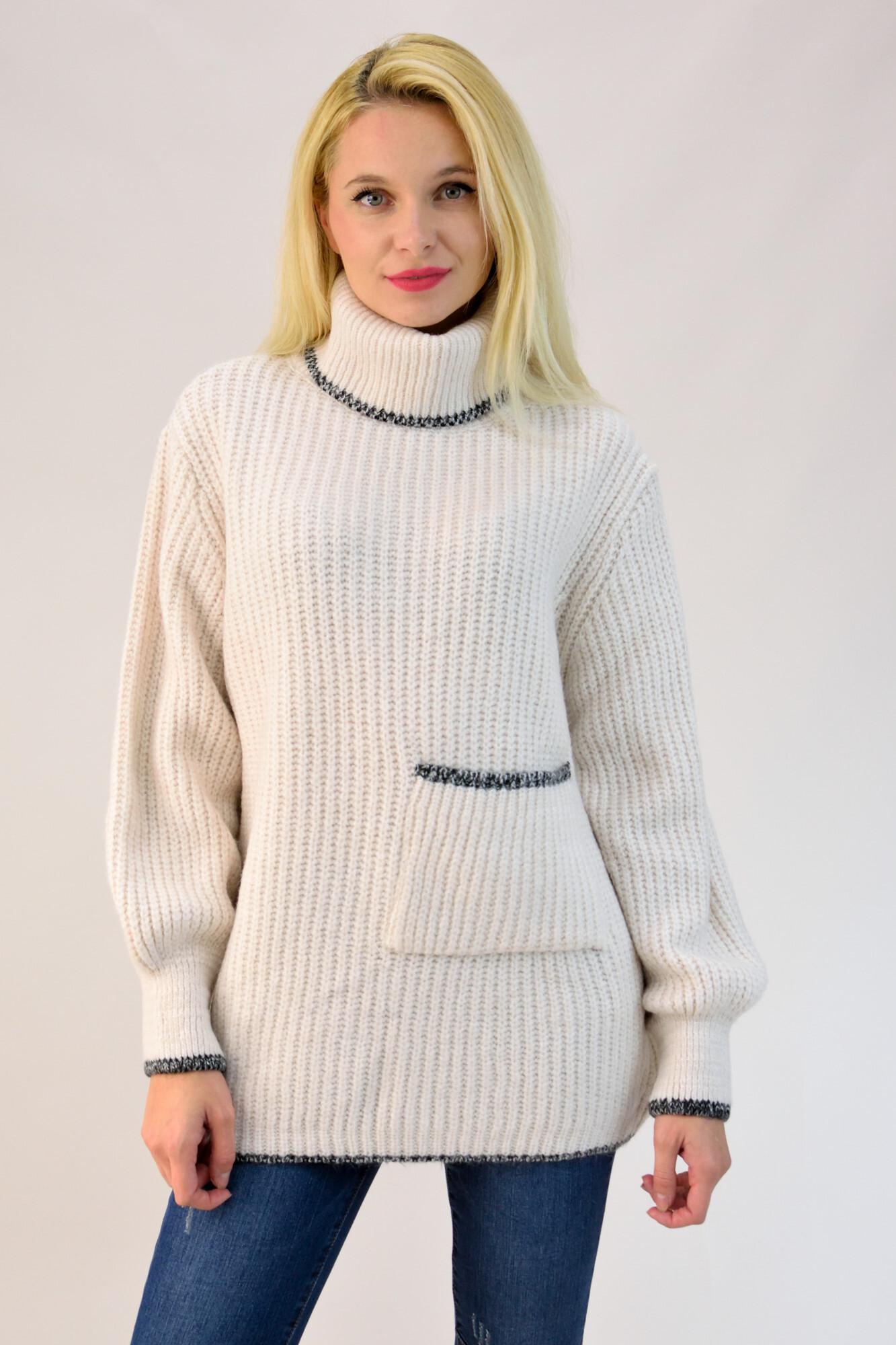 498160a556e7 Πλεκτό πουλόβερ oversized με τσέπη. Tap to expand