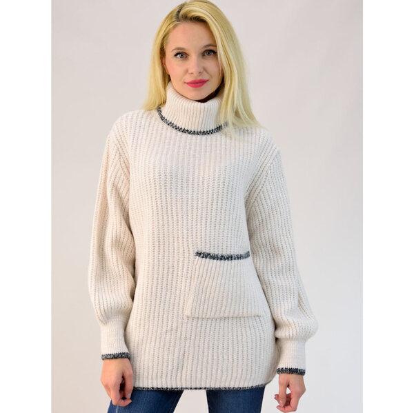05222c70bf95 Πλεκτό πουλόβερ oversized με τσέπη