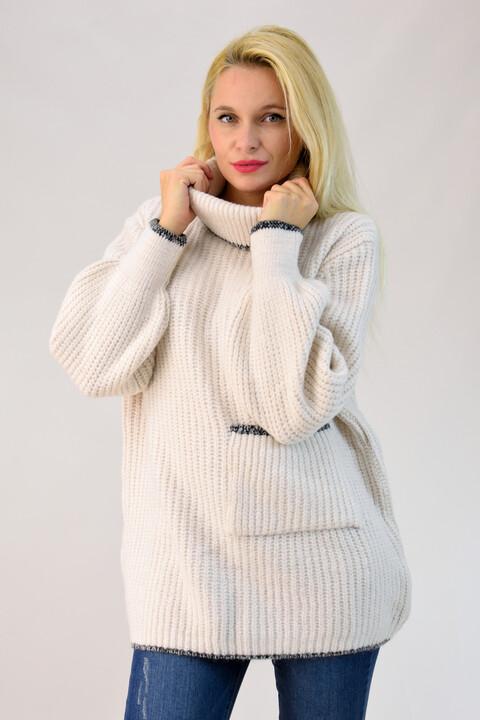 Πλεκτό πουλόβερ oversized με τσέπη - Εκρού