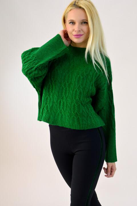 Γυναικείο πλεκτό cropped - Πράσινο