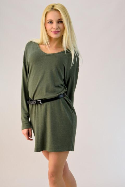 Μακρυμάνικο πλεκτό φόρεμα  - Χακί