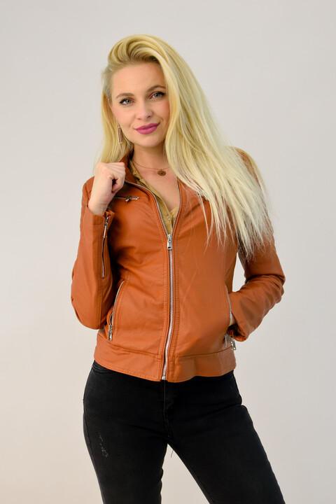 Γυναικείο jacket δερματίνης με τσέπες - Καφέ