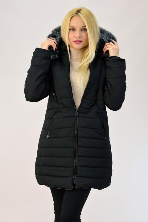 Μπουφάν καπιτονέ με γούνα εσωτερικά plus size - Μαύρο