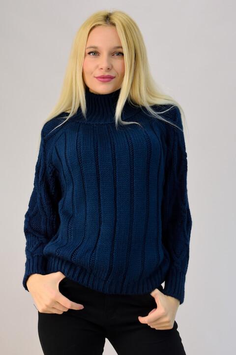 Γυναικείο πλεκτό με πλεξούδες - Μπλε Σκούρο
