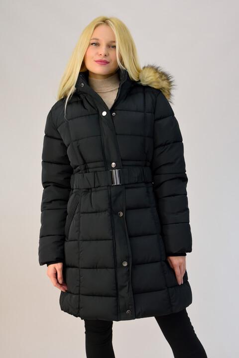 Γυναικείο καπιτονέ μπουφάν με ζώνη plus size - Μαύρο