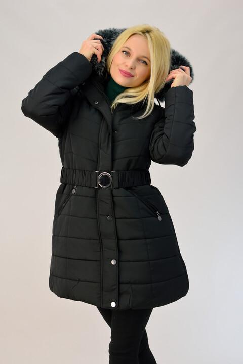 Καπιτονέ μπουφάν με κουκούλα και ζώνη - Μαύρο