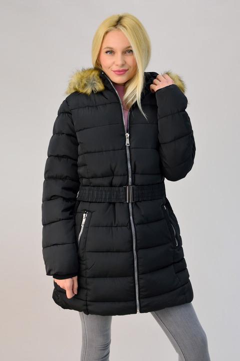 Γυναικείο μπουφάν καπιτονέ με ζώνη και κουκούλα plus size - Μαύρο