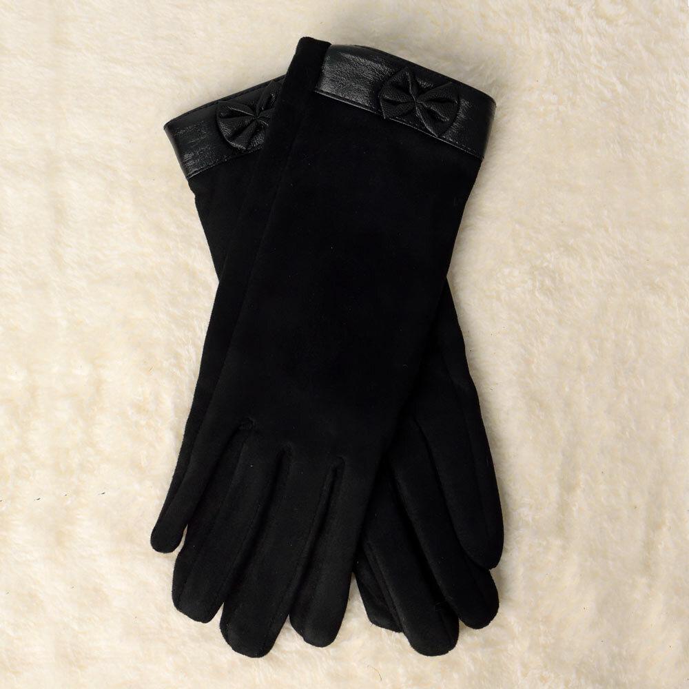 Γυναικεία βελούδινα γάντια με φιογκάκι