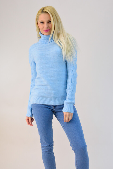 Γυναικείο πλεκτό ζιβάγκο ριπ - Γαλάζιο