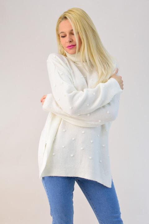 Πλεκτό πουλόβερ ζιβάγκο με ανάγλυφο σχέδιο - Εκρού