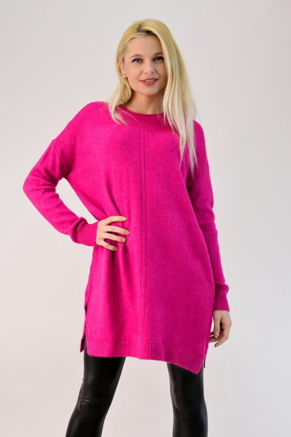 94ab4c157591 Πλεκτό μπλουζοφόρεμα με ανοίγματα - Φούξια ...