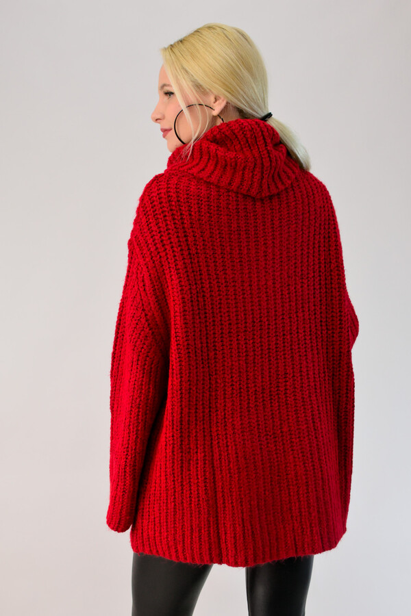 59030c92eaa6 Γυναικεία πλεκτή μπλούζα ζιβάγκο oversized