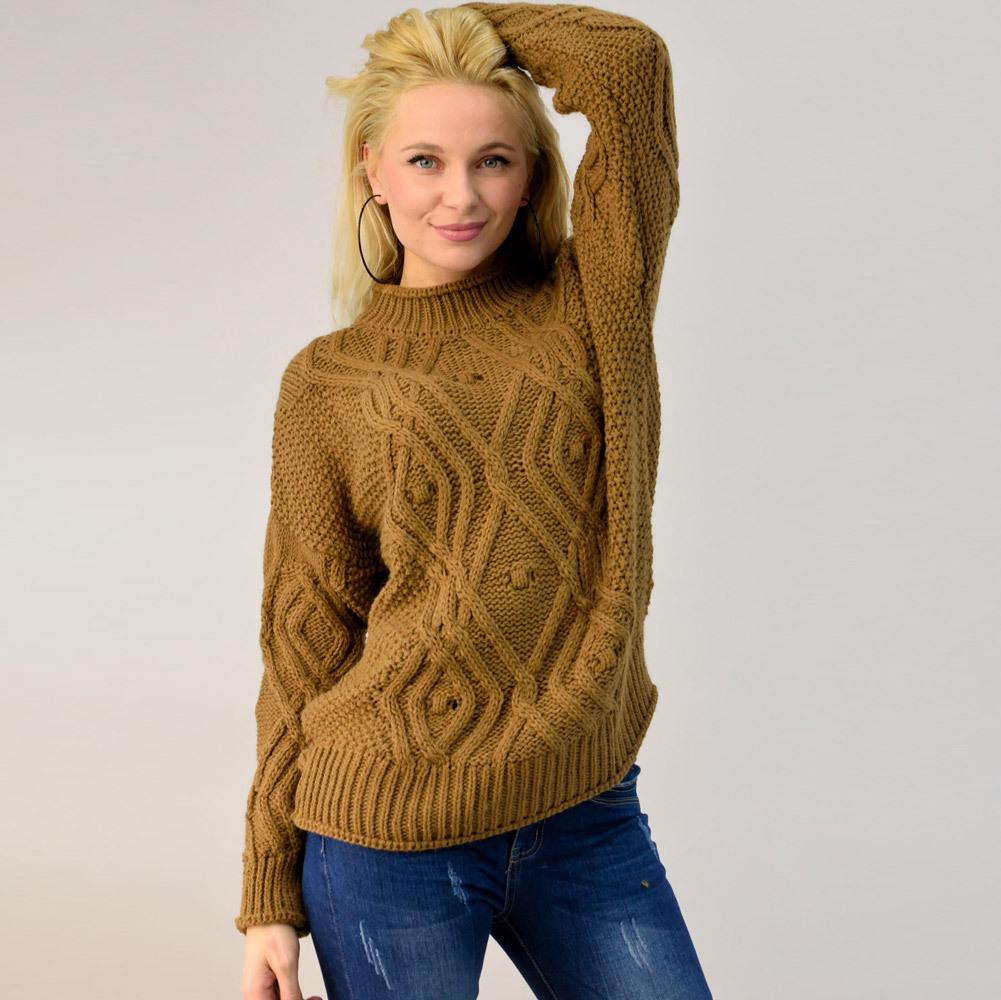 Γυναικείο πλεκτό πουλόβερ με πλεξούδα