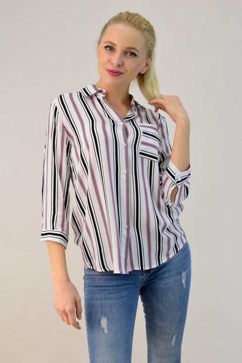 Γυναικείο πουκάμισο ριγέ με τσέπη - Λευκό