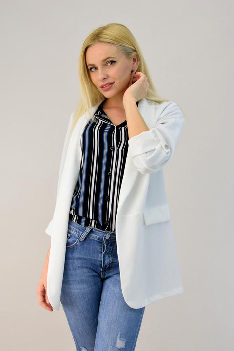 Γυναικείο μπλέιζερ μακρύ - Λευκό