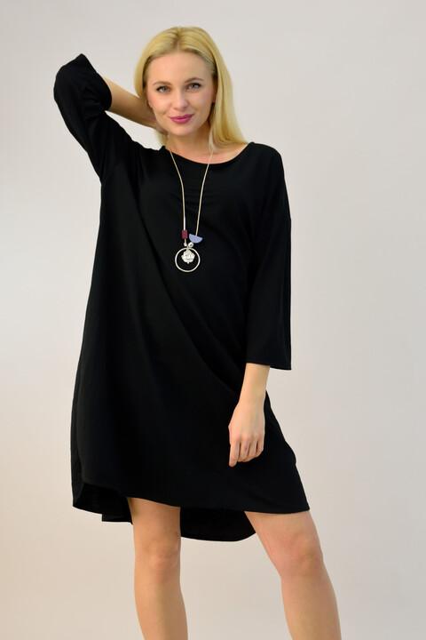 Γυναικείο φόρεμα με κολιέ plus size - Μαύρο
