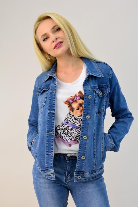 Γυναικείο μπουφάν τζιν - Μπλε Τζιν