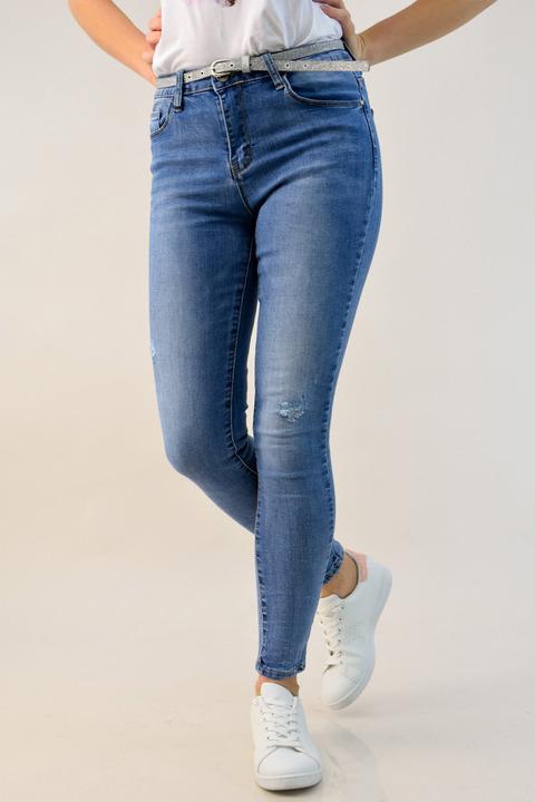 Γυναικείο τζιν skinny με ζώνη  - Μπλε Τζιν