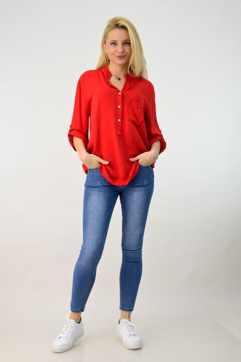 Γυναικεία πουκαμίσα αέρινη με τσέπη - Κόκκινο